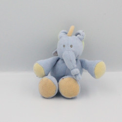 Doudou attache tétine éléphant bleu vert jaune JOLLYBABY