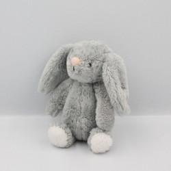 Doudou lapin gris blanc étoiles roses