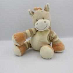 Doudou ane cheval zébre beige orange BENGY