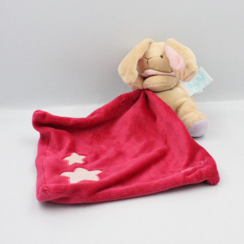 Doudou luminescent lapin beige rose mauve étoiles mouchoir BABY NAT