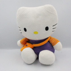 Doudou peluche chat HELLO KITTY violet sac orange SANRIO LICENSE