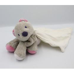Doudou chat chien gris rose violet mouchoir SUCRE D'ORGE