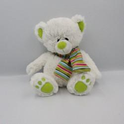 Doudou peluche ours blanc vert bleu rose rayé BABY GUND