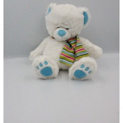 Doudou peluche ours blanc bleu vert rose rayé BABY GUND