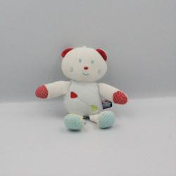 Doudou chat ours blanc bleu rouge vert pois SUCRE D'ORGE