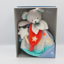 Doudou et compagnie plat rond ours gris bleu rouge luminescent Magic NEUF