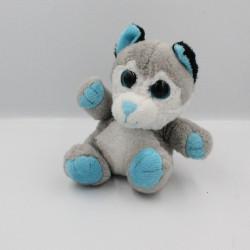 Doudou chat gris blanc bleu PETILLOUS COLOR GIPSY