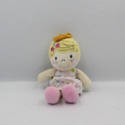 Doudou poupée princesse rose blanc étoiles CASINO