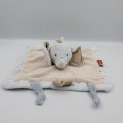 Doudou plat éléphant bleu beige NATTOU