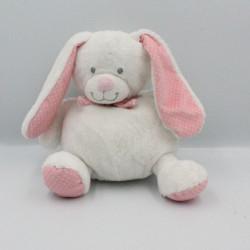 Doudou lapin blanc rose pois TEX BABY 27 cm