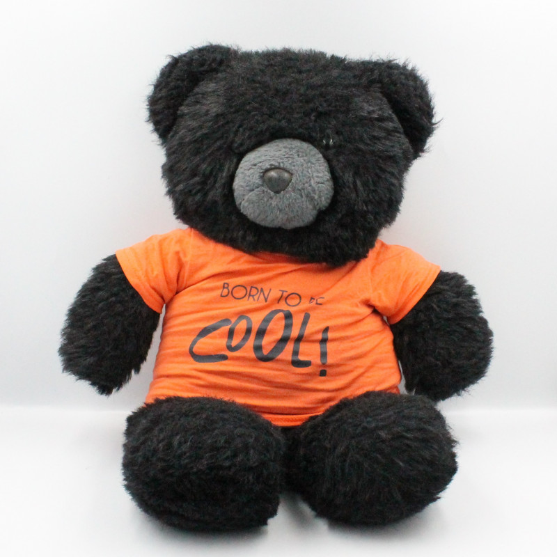 Ancienne peluche ours noir Born to be cool