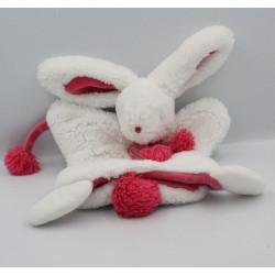 Doudou et Compagnie plat marionnette lapin blanc rose Pompon