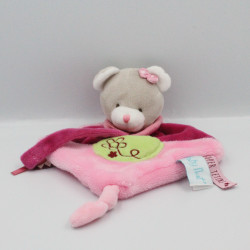 Doudou plat ours rose vert super tétine BABY NAT