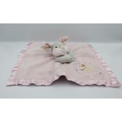 Doudou plat couverture rose satin lapin Pan-pan Panpan Disney