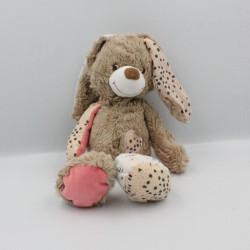 Doudou lapin beige marron rose coeur TAPE A L'OEIL
