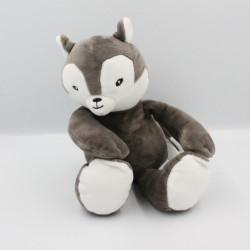Doudou écureuil renard gris blanc CARRE BLANC