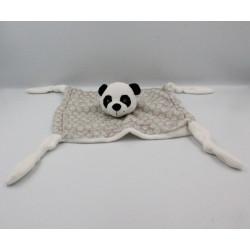 Doudou plat panda blanc gris CARRE BLANC