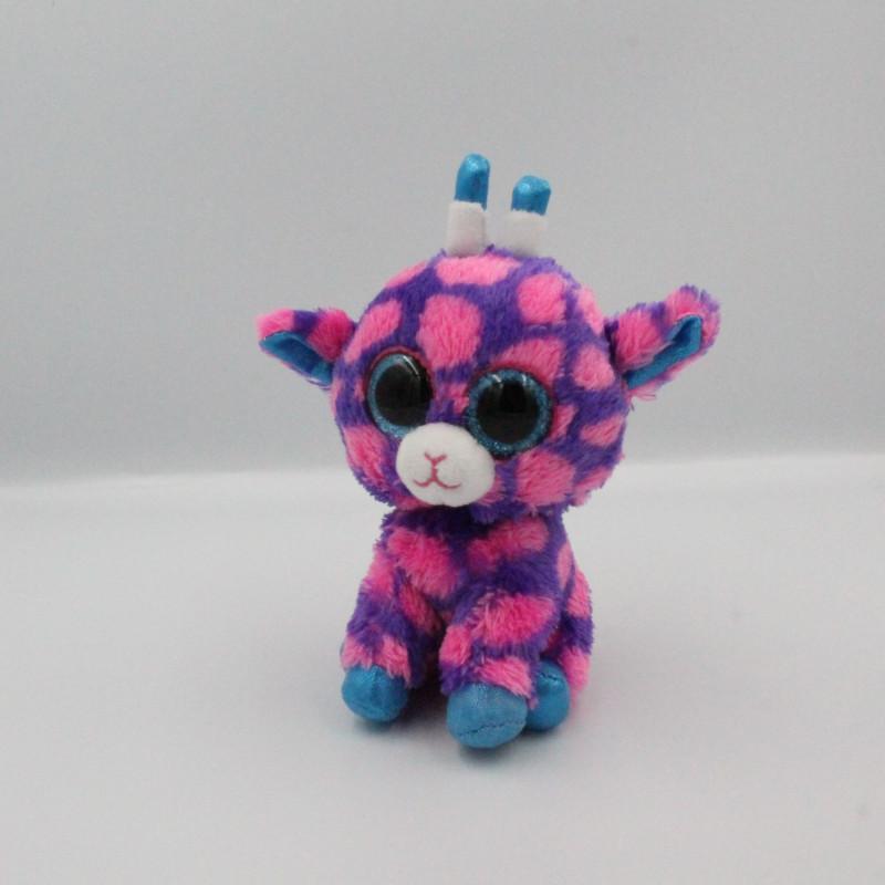 Peluche girafe rose violet bleu Gros yeux brillant TY