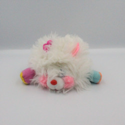 Mini Peluche Popples blanc rose année 1986