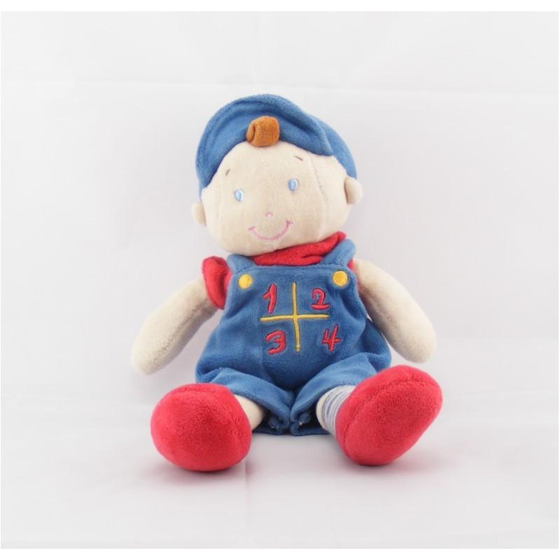 Doudou garçon salopette casquette bleu 1234 MOTS D'ENFANTS