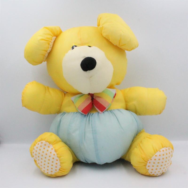 Peluche Puffalump chien jaune bleu pois nœud BIKIN