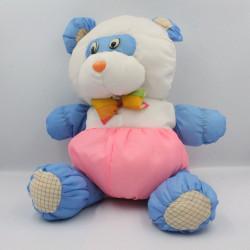 Peluche Puffalump panda ours bleu blanc rose