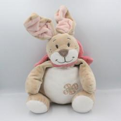 Grand Doudou lapin beige blanc noeud rose Oscarine NOUKIE'S