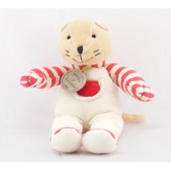 Doudou et compagnie plat chat Chadoux blanc rayé rouge