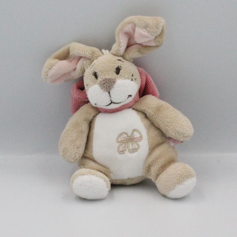 Doudou musical lapin beige blanc noeud rose Oscarine NOUKIE'S