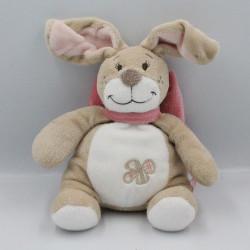 Doudou lapin beige blanc noeud rose Oscarine NOUKIE'S 25 cm