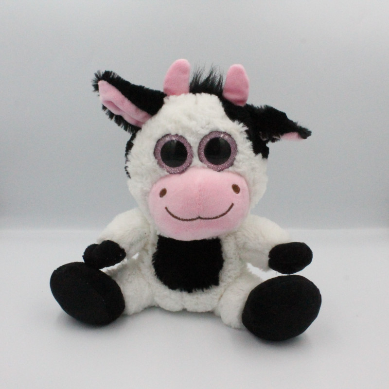 Doudou vache blanche noir gros yeux brillant FIZZY