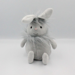 Doudou peluche lapin gris poils JELLYCAT