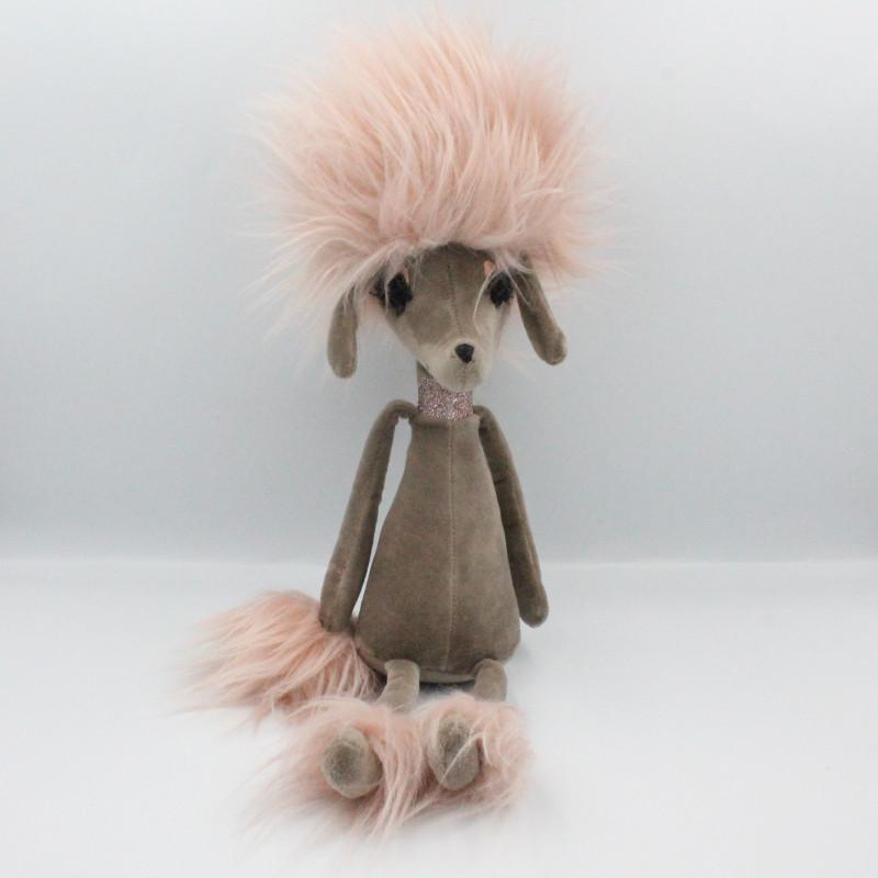 Doudou peluche chien caniche  marron rose Penelope JELLYCAT
