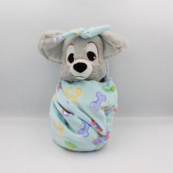 Doudou peluche chien Clochard dans un sac baluchon DISNEY