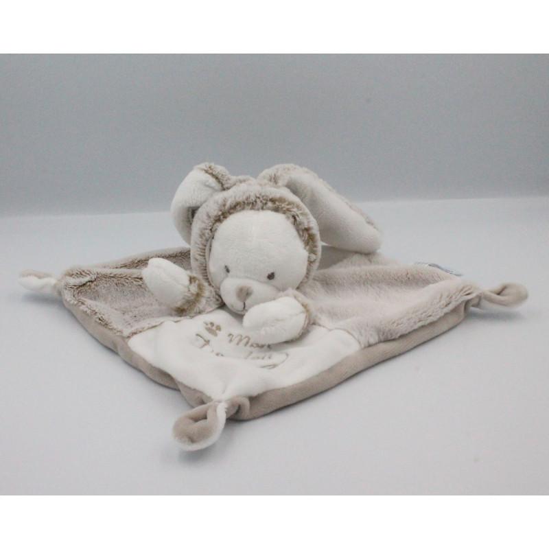 Doudou plat ours déguisé en lapin blanc gris marron SIMBA TOYS