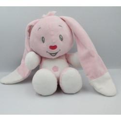 Doudou lapin rose blanc noeuds AUCHAN BABY