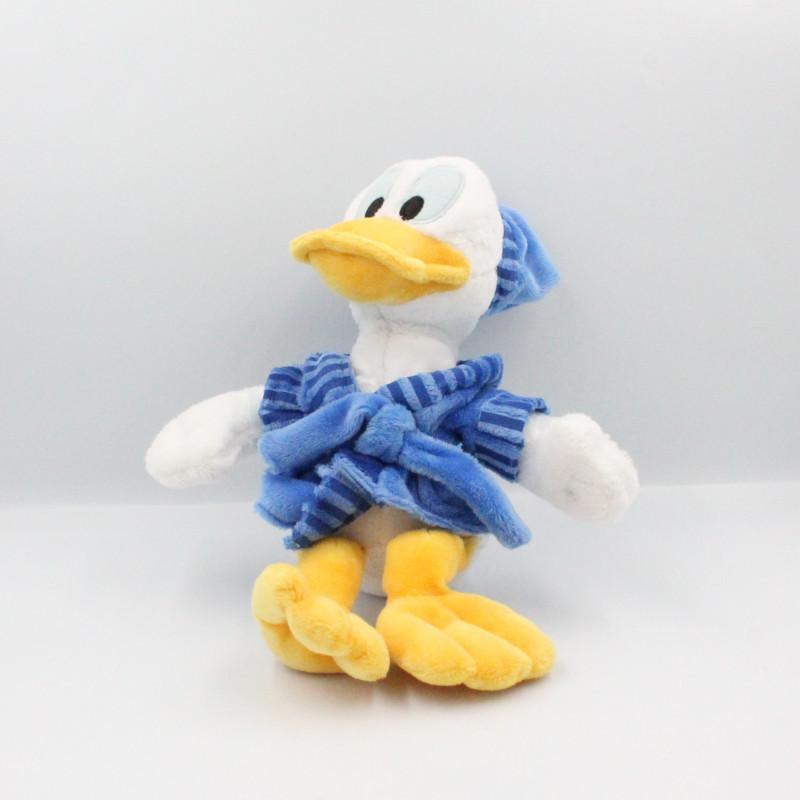 Doudou canard Donald en pyjama peignoir bleu Disney