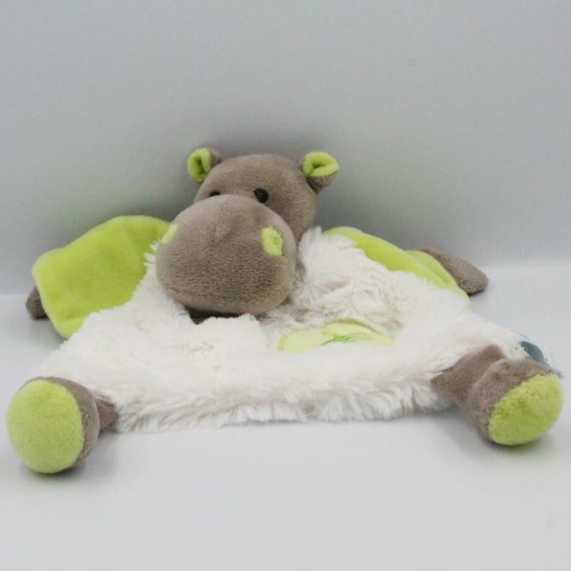 Doudou plat Hippopotame marron blanc vert Bazile l'hippo BABY NAT