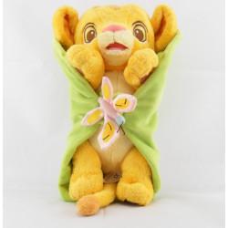 Doudou le roi lion Simba dans une feuille avec papillon DISNEY