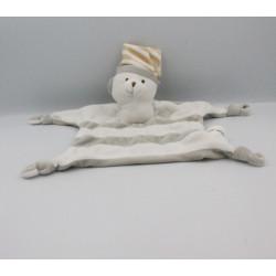Doudou plat ours blanc gris beige rayé CREDIT MUTUEL