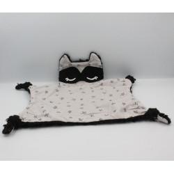 Doudou plat chat renard noir gris étoiles bandeau
