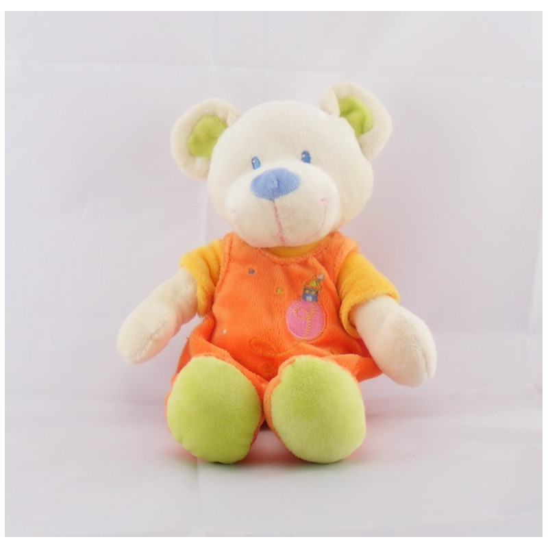 Doudou ours salopette orange MOTS D'ENFANTS