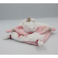 Doudou plat licorne blanche rose doré BABY NAT