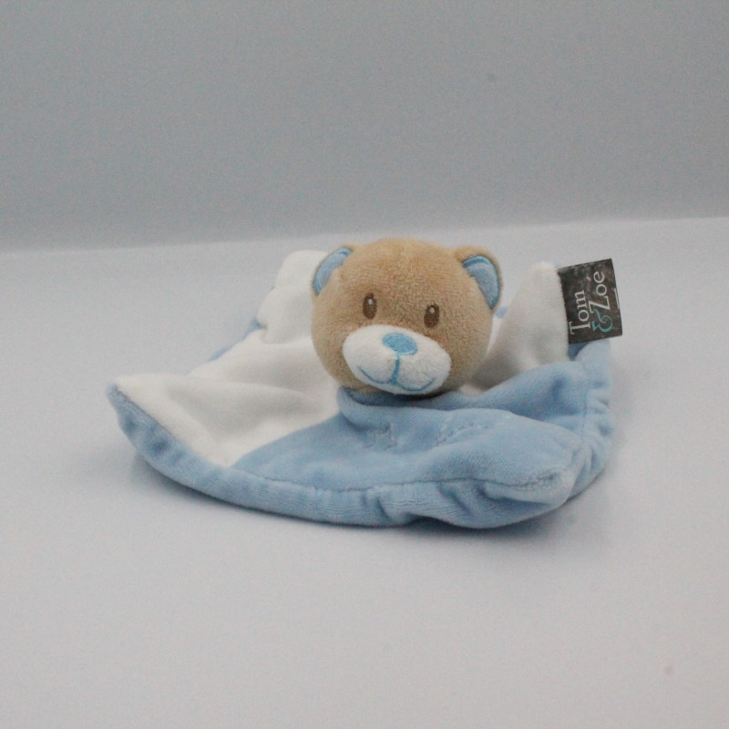 Doudou plat ours blanc bleu TOM & ZOE