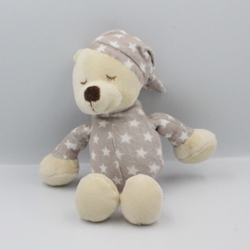 Doudou ours beige étoiles TOM & KIDDY TOMKIDS