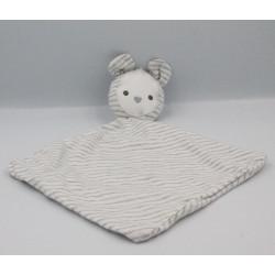 Doudou plat ours souris blanc rayé gris OBAIBI OKAIDI