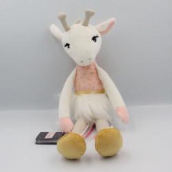 Doudou girafe Zarafa blanche rose grise Les Kalines KALOO