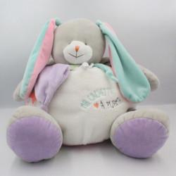 Doudou lapin gris blanc bleu rose Ma cachette à pyjama BABY NAT