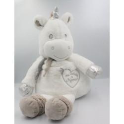 Doudou licorne blanche gris argent Ma cachette à pyjama BABY NAT