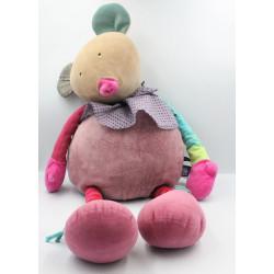 Grand Doudou souris rose vert Les Jolis pas beaux MOULIN ROTY 70 cm